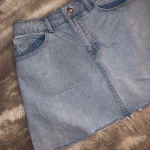 h&m lightwash jean skirt